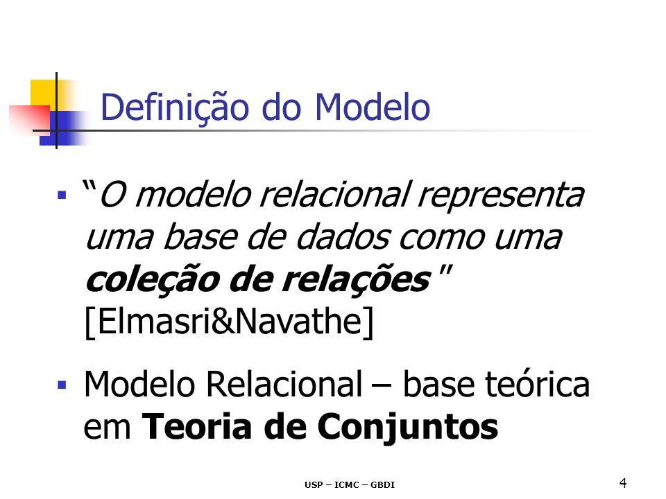 Definição do Modelo O modelo relacional representa uma base de dados como uma coleção de relações [Elmasri&Navathe]
